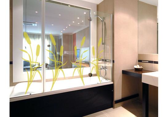 Folienfarbe in Wohnansicht: Sparkling Yellow - Glasdekor Schilf