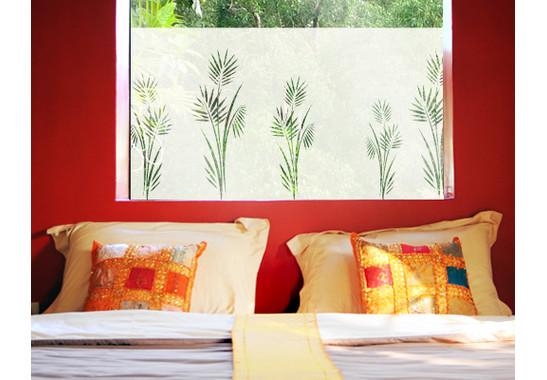 Folienfarbe in Wohnansicht: Frosted - Sichtschutz Palmenzweig I