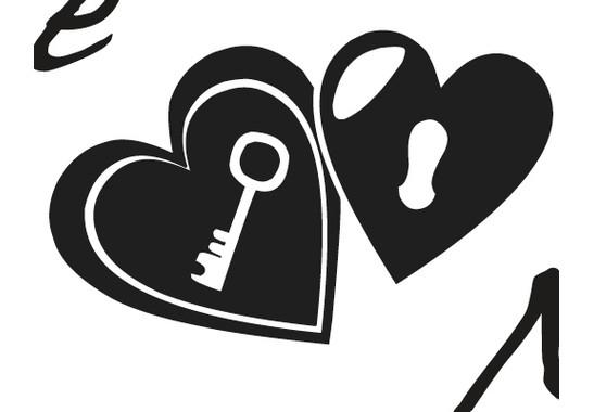 Ein Detail des Motives - Wandtattoo Schlüssel zum Herz 2