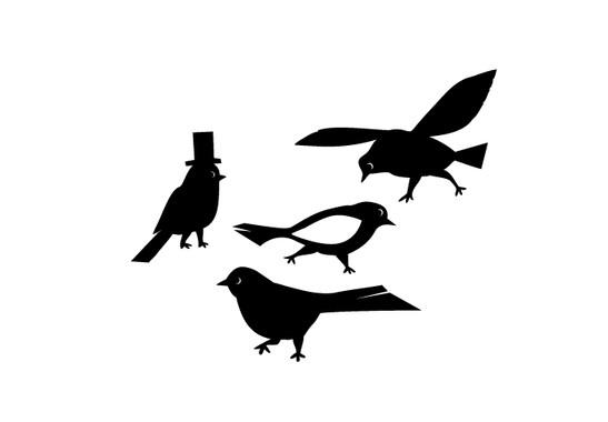 schwarz/weiss Ansicht - Wandtattoo Vier Vögel