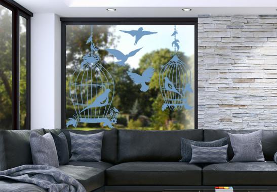 Glasdekor Vogel Voliere