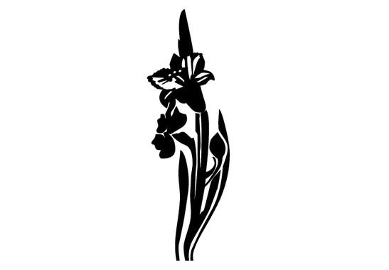schwarz/weiss Ansicht - Wandtattoo Daffodill Flowers