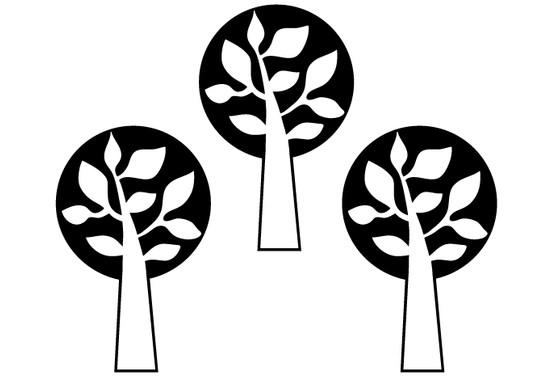 schwarz/weiss Ansicht - Wandtattoo 3 Bäume