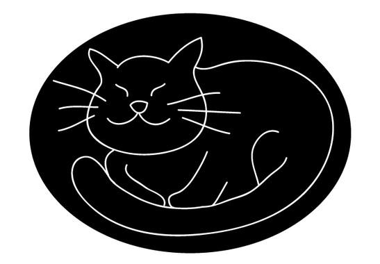 schwarz/weiss Ansicht - Wandtattoo gemütliche Katze