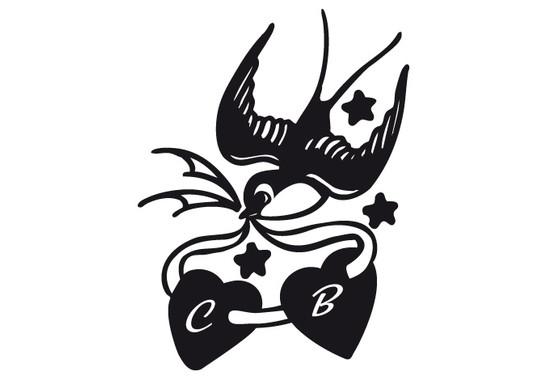 schwarz/weiss Ansicht - Wandtattoo Swallow Tatto II Hearts