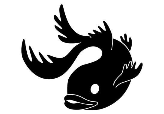 schwarz/weiss Ansicht - Wandtattoo Fisch