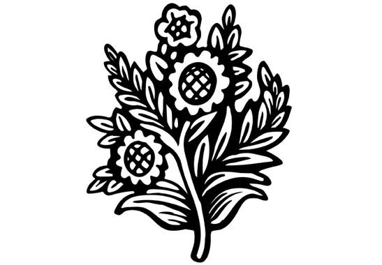 schwarz/weiss Ansicht - Wandtattoo Sonnenblumen