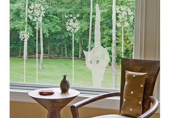 Folienfarbe in Wohnansicht: Frosted - Glasdekor Sommerkatze