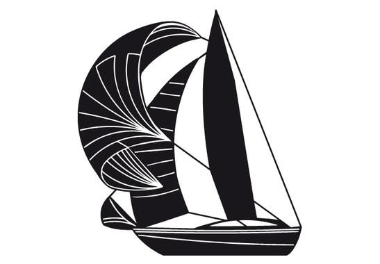 schwarz/weiss Ansicht - Wandtattoo Segelboot