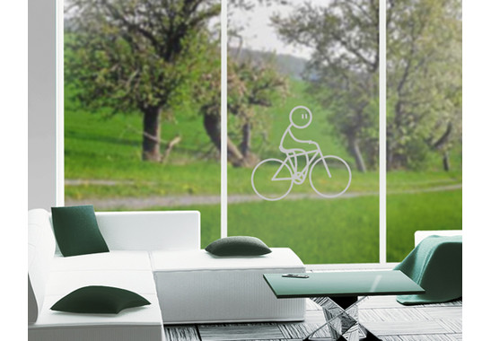 Folienfarbe in Wohnansicht: Frosted - Glasdekor Radfahrer