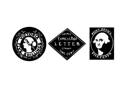 schwarz/weiss Ansicht - Wandtattoo Old Poststamps II