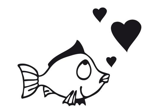 schwarz/weiss Ansicht - Wandtattoo Fische