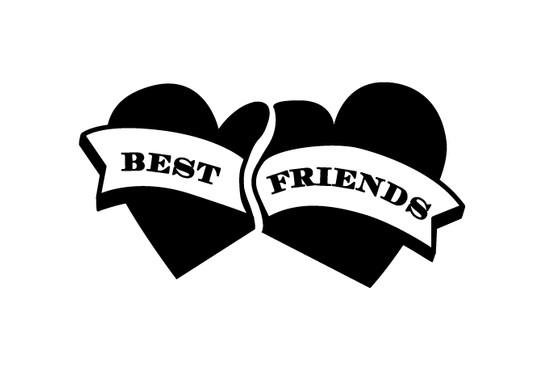 schwarz/weiss Ansicht - Wandtattoo Best Friends