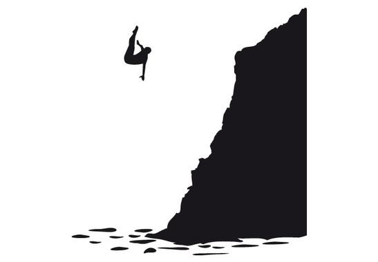 schwarz/weiss Ansicht - Wandtattoo Felsenspringer