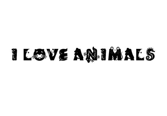 schwarz/weiss Ansicht - Wandtattoo I love animals
