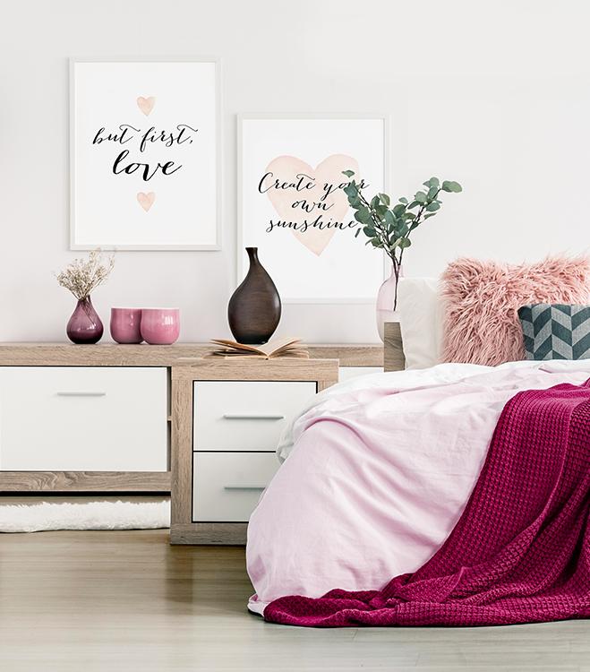 Poster-Set mit Bilderrahmen Confetti and Cream - Love is everything (2er Set)