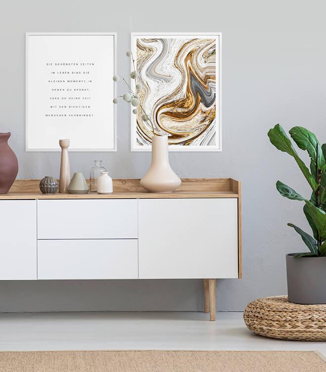 Poster-Set mit Bilderrahmen Die schönsten Zeiten im Leben (2er Set)