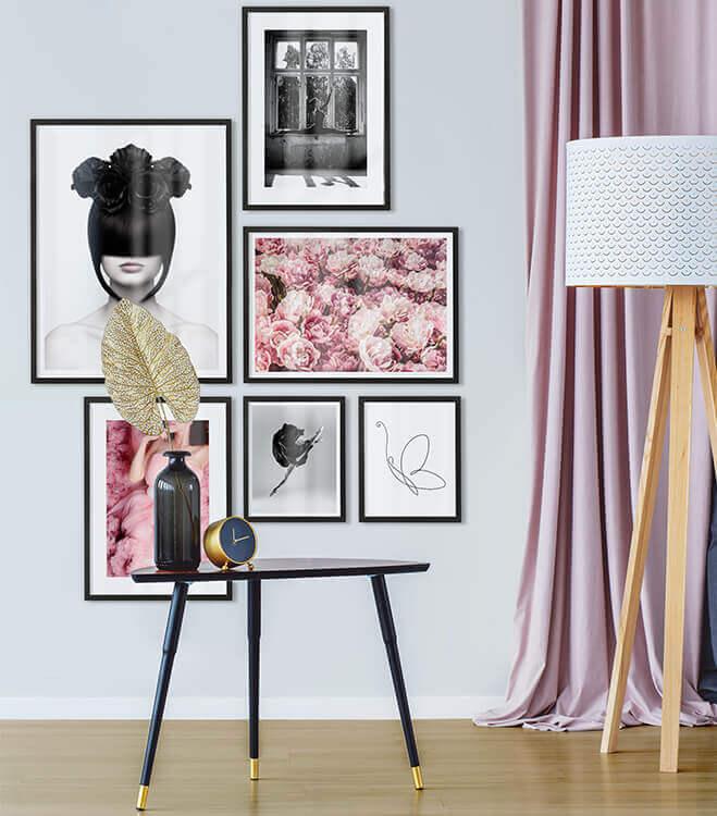 Poster-Set mit Bilderrahmen Feminin (6er Set)