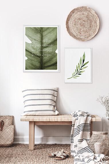 Poster-Set mit Bilderrahmen Grüne Natur (2er Set)