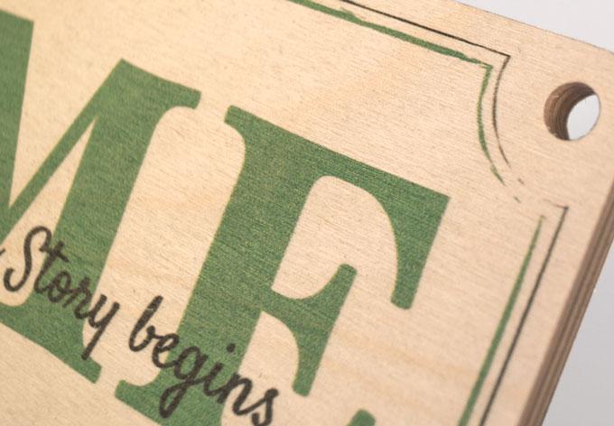 Holz Holzschild Rezeption mit Sisalseil beige