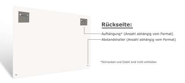 Materialbeschreibung Glasbild Rückseite mit Beschreibung