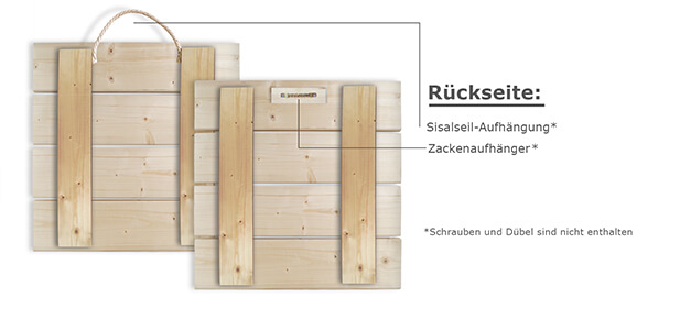 Materialbeschreibung Holzbild Rückseite mit Beschreibung
